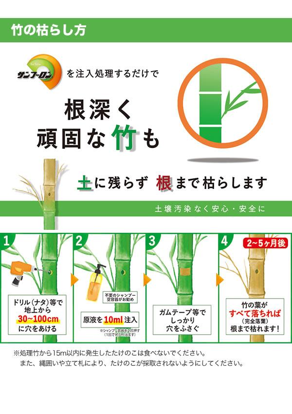 竹の枯らし方、根深く頑固な竹も土に残らず根まで枯らします